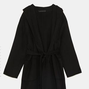 Zara Black Hooded Coat